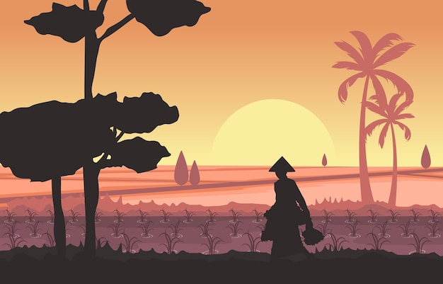 Morning asian farmer in rice field paddy plantation agriculture illustration Premium Vector