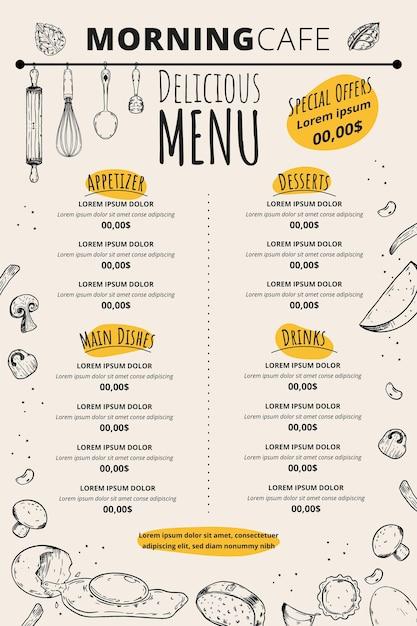 Morning cafe delicious menu template Free Vector