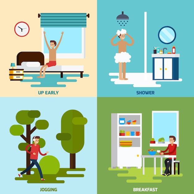 Morning character icon set Free Vector