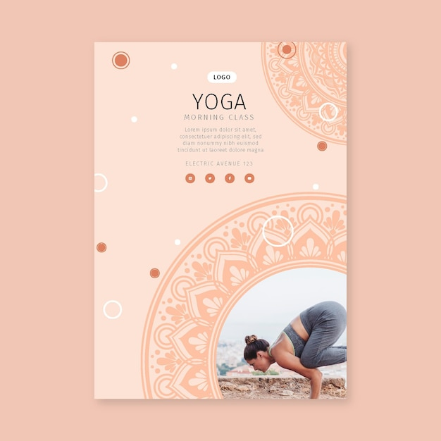 Morning class yoga poster template Free Vector