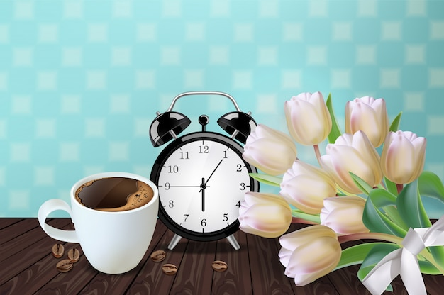 Morning cup of coffee and alarm Premium Vector