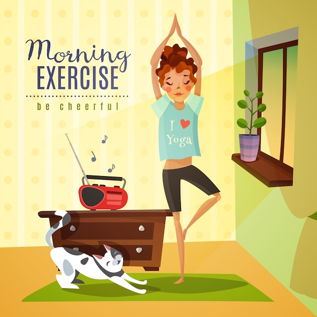 Morning exercises cartoon composition Free Vector