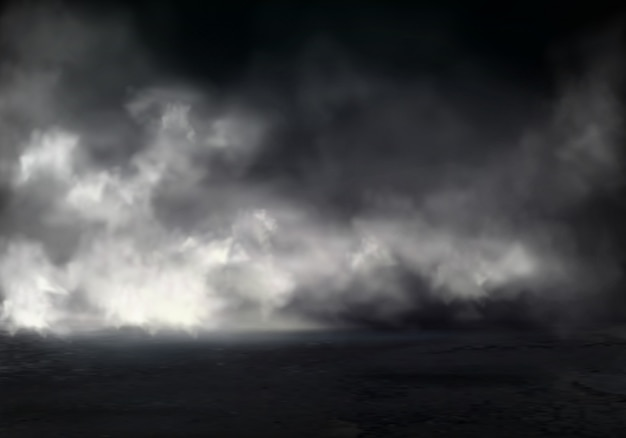 Утренний туман или туман на реке, дым или смог распространяются по темной воде или поверхности земли Бесплатные векторы