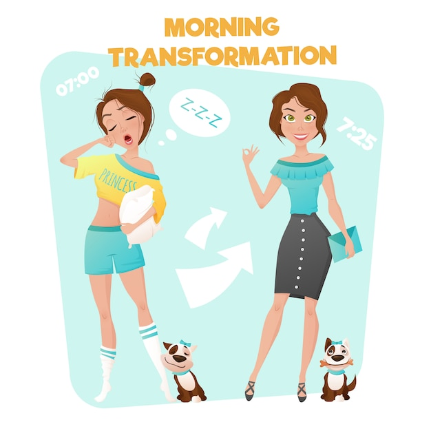 Morning girl transformation poster Free Vector