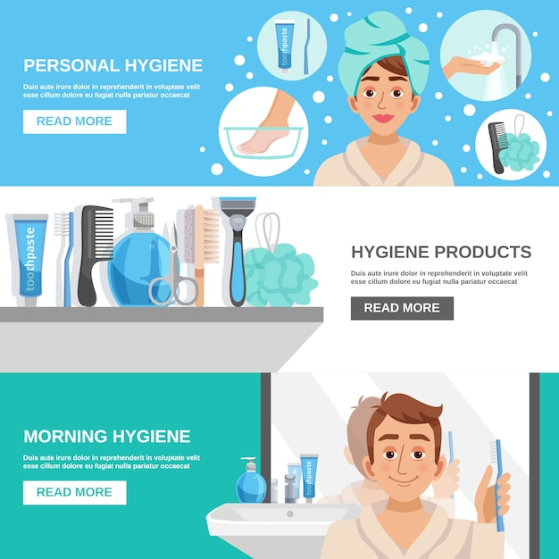 Morning hygiene banners set Free Vector