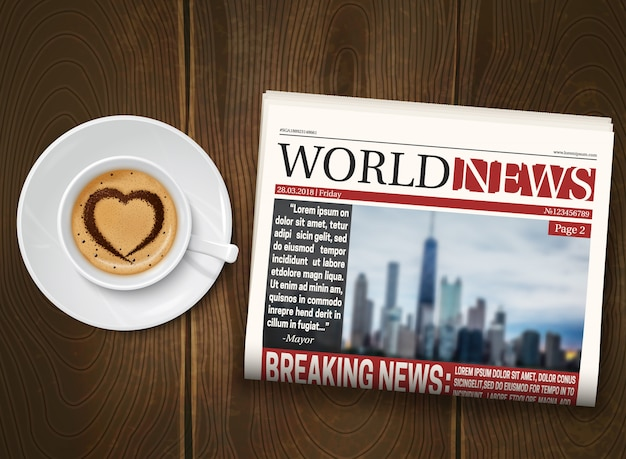 Morning newspaper wood background poster Free Vector