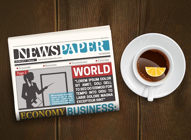 Morning newspaper wood  poster Free Vector