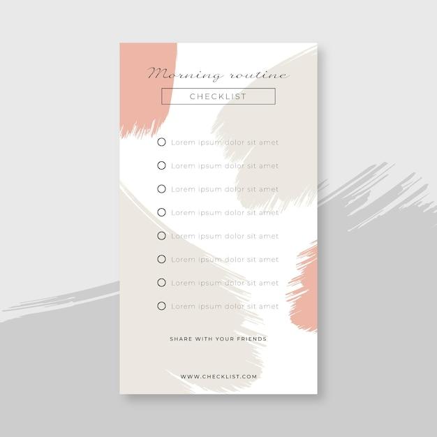 Checklist di routine mattutina Vettore gratuito