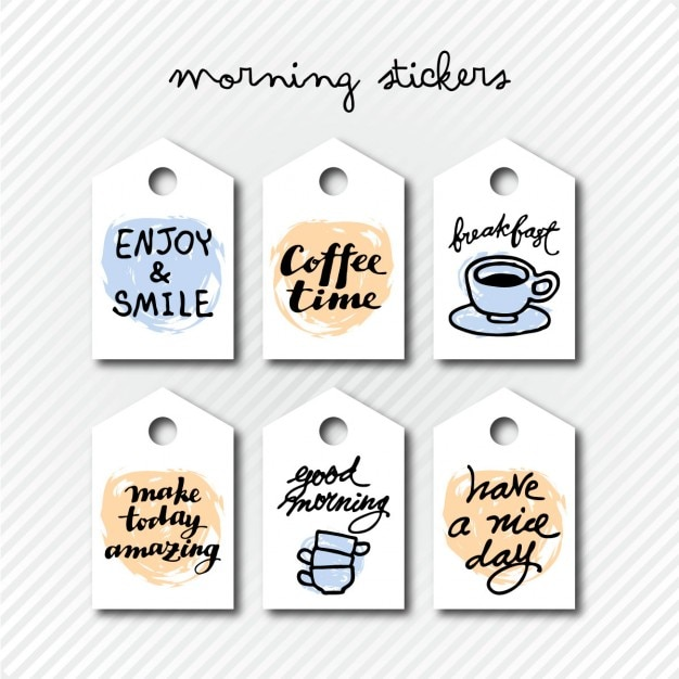 Morning stickers Free Vector