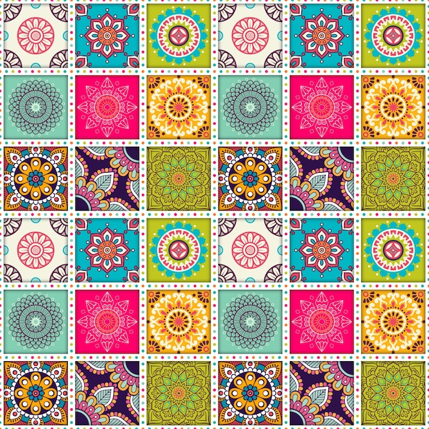 Moroccan Tile Pattern With Mandalas Vector Free Download