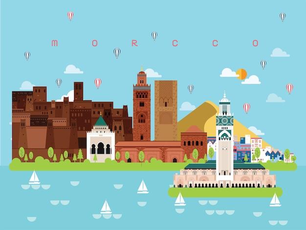 Morocco famous landmarks illustration Premium Vector