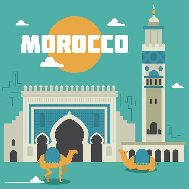 Morocco landmarks illustration Free Vector