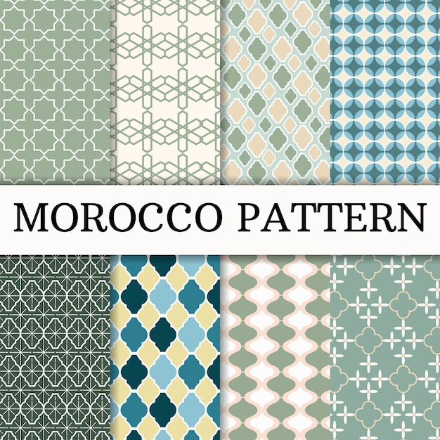 モロッコパターンセットの背景 Premiumベクター