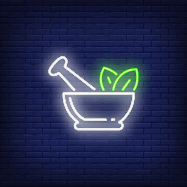 Mortar, pestle and leaves neon sign Free Vector