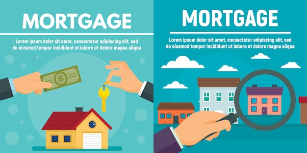 Mortgage banner set, flat style Premium Vector