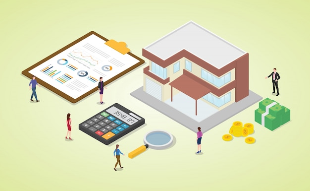 Mortgage calculator with team people and house with some money and graph chart calculation with isometric modern flat style Premium Vector