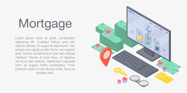 Mortgage concept banner, isometric style Premium Vector