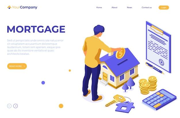 住宅ローンの家と人間が不動産にお金を投資するアイソメトリックコンセプト Premiumベクター