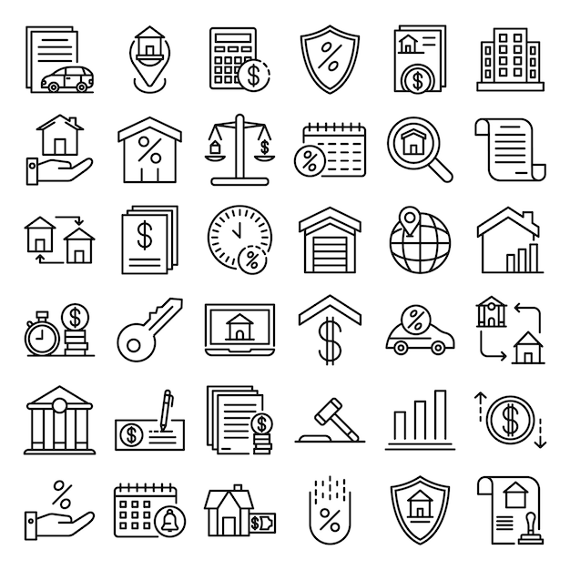 Mortgage icons set, outline style Premium Vector