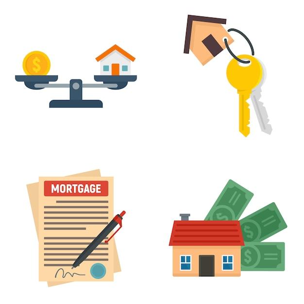 Mortgage icons set Premium Vector