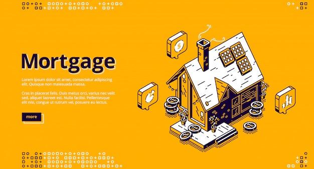 Pagina di destinazione isometrica ipoteca con cottage Vettore gratuito