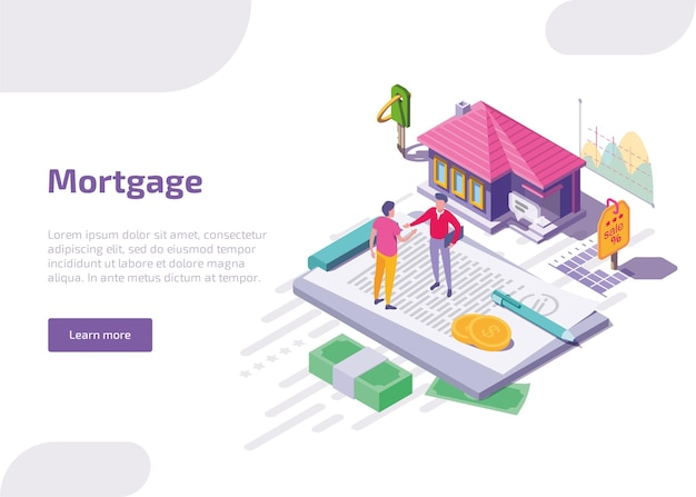 Mortgage isometric web banner. Free Vector