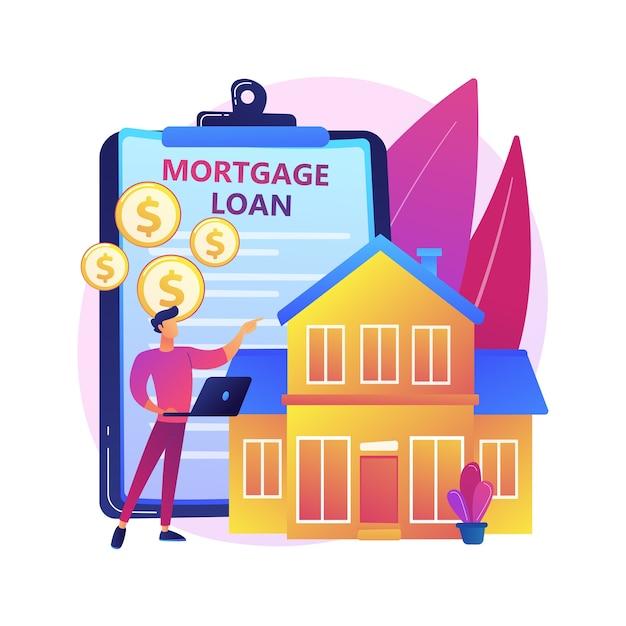 Mutuo ipotecario concetto astratto illustrazione. credito bancario domestico, acconto, servizi immobiliari, rimborso di mutui, portafoglio di investimenti, oneri finanziari familiari. Vettore gratuito