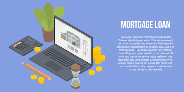 Mortgage loan concept banner, isometric style Premium Vector