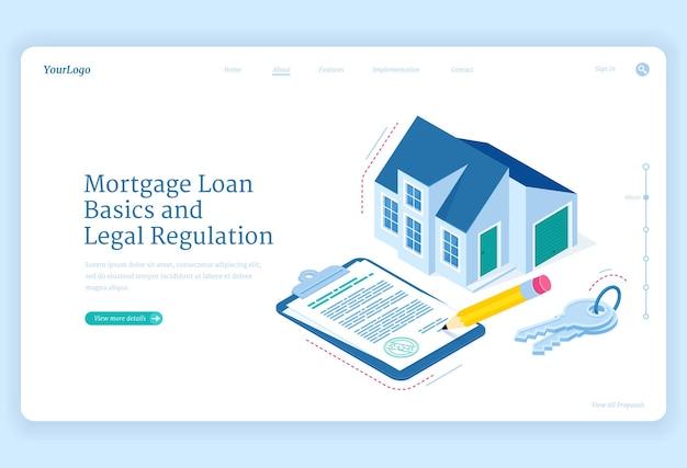 住宅ローン規制の等尺性ランディングページ。鍵とサイン用の契約書が付いたコテージハウス。抵当権の基本的および法的調整、住宅購入のための個人銀行信用、3dウェブバナー 無料ベクター