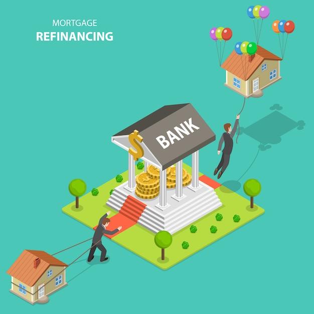 Mortgage refinancing isometric flat vector illustration. Premium Vector