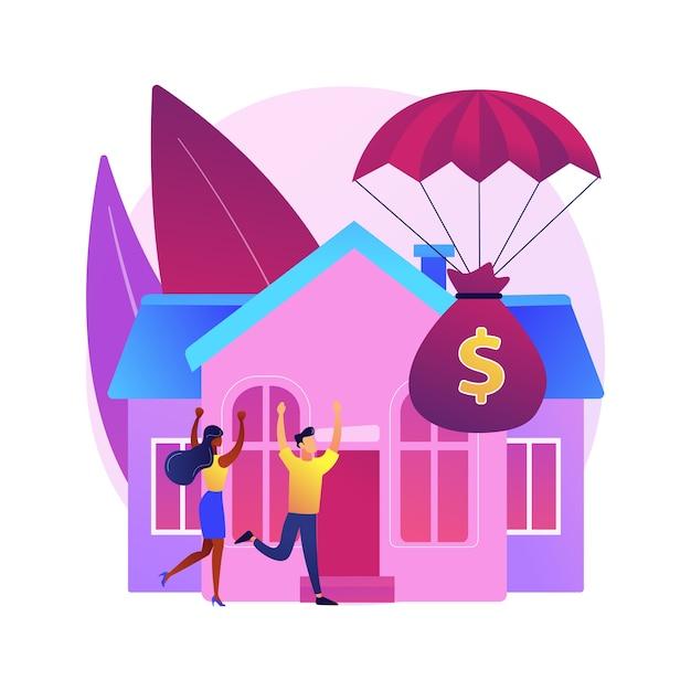 Illustrazione di concetto astratto di programma di rilievo di ipoteca. ridurre o sospendere i pagamenti del mutuo, la modifica del prestito, l'aiuto governativo, il budget del proprietario della casa, l'assicurazione contro i rischi Vettore gratuito