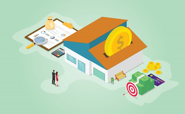 Mortgage savings financial preparation with some money calculator and house with isometric modern flat style Premium Vector