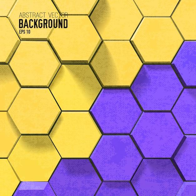 Мозаичный фон с красочными шестиугольниками в геометрическом стиле Бесплатные векторы