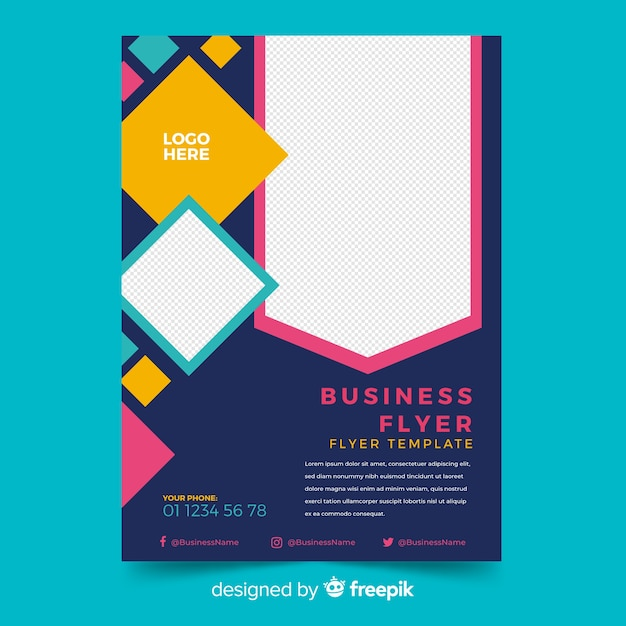 Mosaic business flyer template with copy space Free Vector