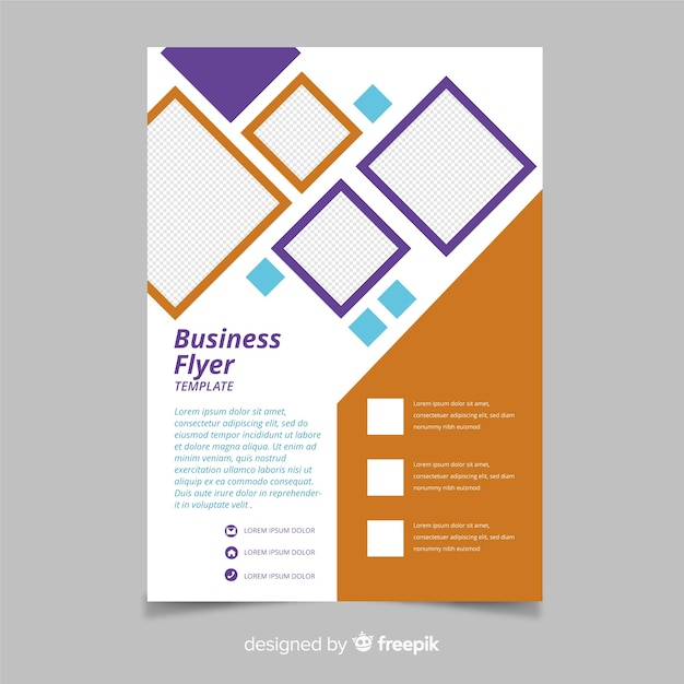 Mosaic business flyer template with diamons Free Vector
