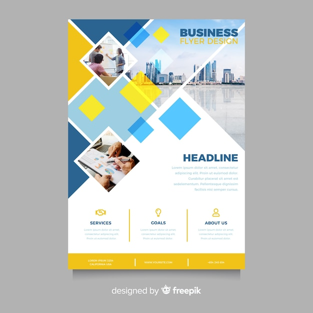 Mosaic business flyer template with photo Free Vector