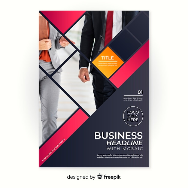 Mosaic business flyer template Free Vector