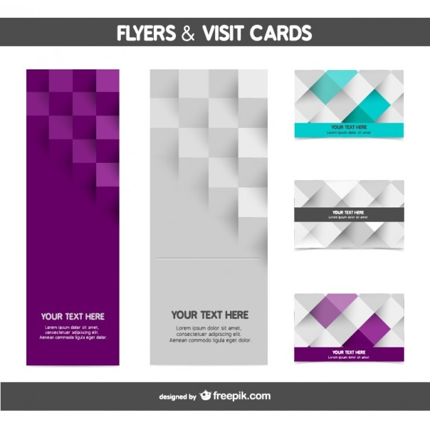 mosaic flyer and card templates vector free download
