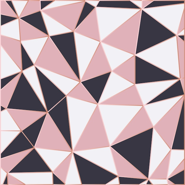 Mosaic wallpaper in rose gold and black Premium Vector