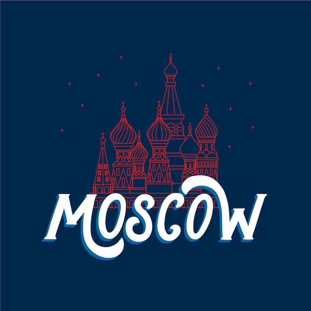 Moscow city lettering Free Vector