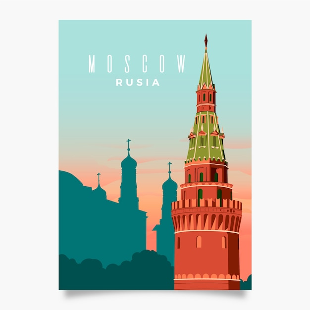 Moscow promotional flyer template Free Vector