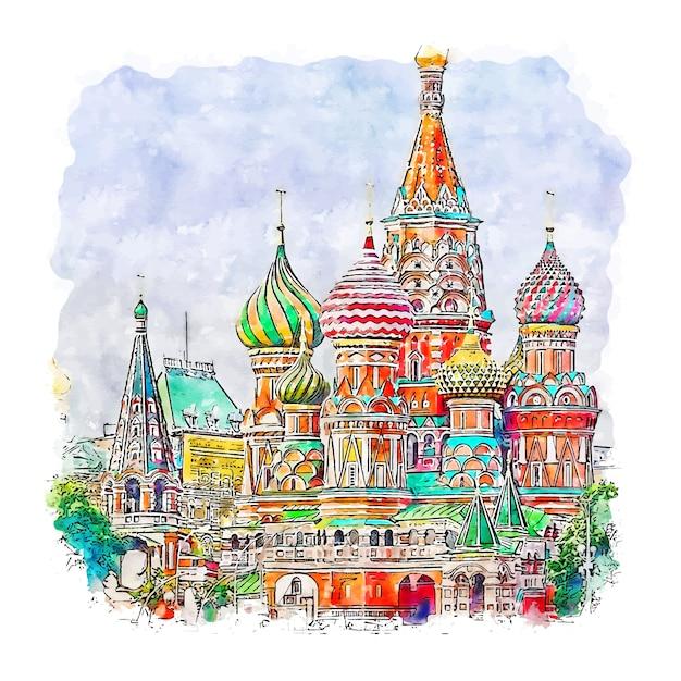 Moscow russia watercolor sketch hand drawn illustration Premium Vector
