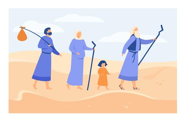 Моисей ведет израильтян через пустыню к плоской векторной иллюстрации обетованной земли. древний христианский пророк, показывающий персонажам путь сквозь пески. библейские рассказы и концепция религии Бесплатные векторы