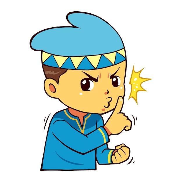 Moslem boy character please be quiet pose. Premium Vector