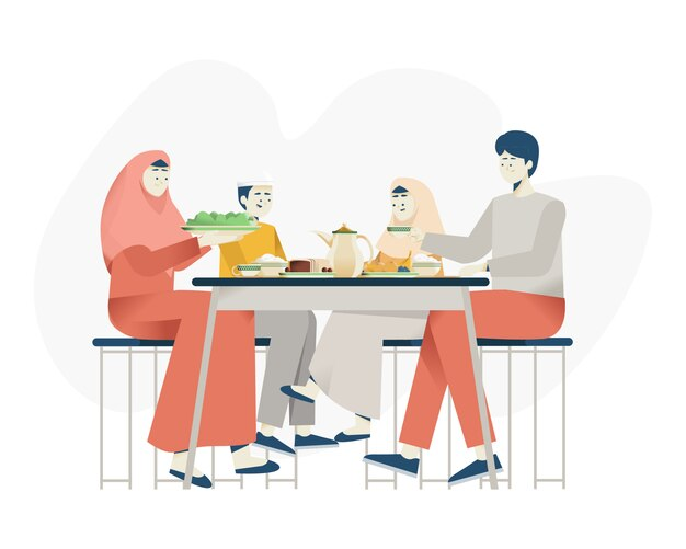 イスラム教家族の夕食 Premiumベクター