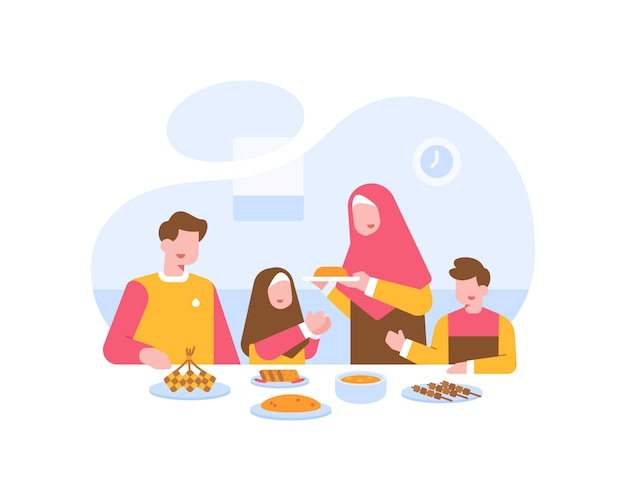 Moslem family eat together at the dining table illustration Premium Vector