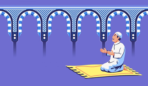 Moslem male sit and pray near decorative mosque gate. Premium Vector