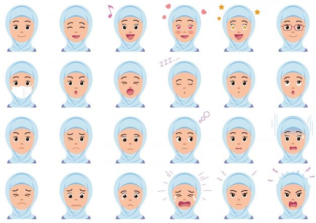 Moslem woman various facial expressions set Premium Vector