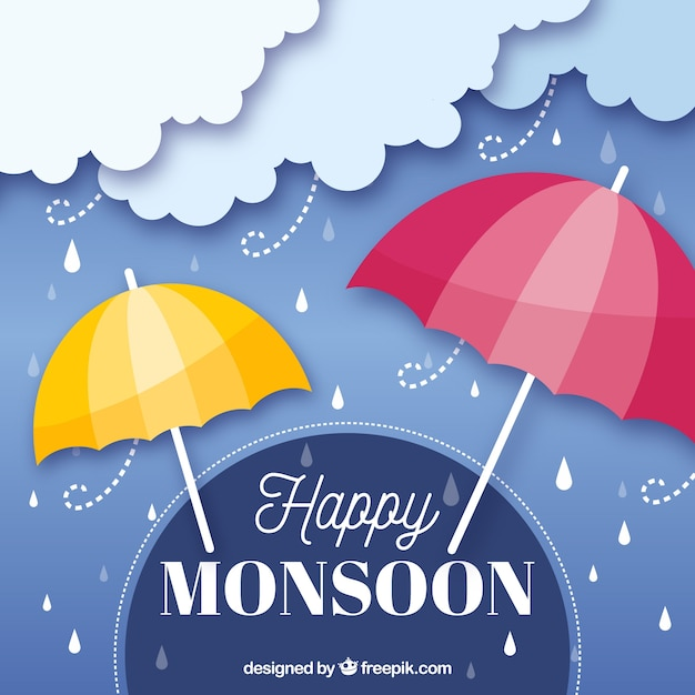 Mosoon season composition with flat\ design