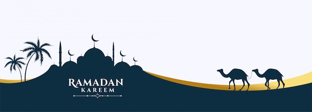 モスクとラクダのシーンラマダンカリームバナー 無料ベクター